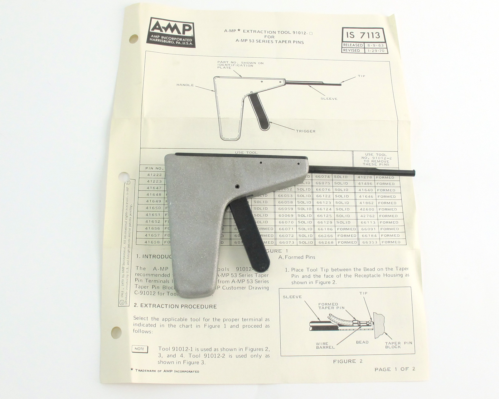 Amp Tyco 91012-1 Contact Terminal Removal Tool Taper Pin Extractor | Mavin  the Webstore